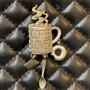 Vintage JJ Silver Coffee Lovers Charm Brooch